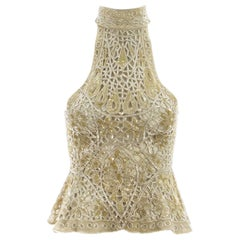Eavis & Brown ivory beaded and sequin net halter neck evening blouse, c. 1990s