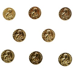 Chanel COCO Goldtone Medium Shank Buttons (Set of 8)