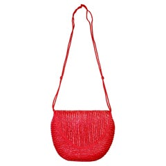 Raspberry Red Vintage Straw Crossbody Bag or Clutch Italy 1980s