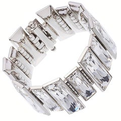 Simon Harrison Panther Baguette Crystal Stainless Steel Bracelet