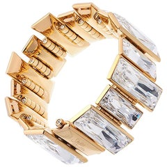 Simon Harrison Panther Baguette Crystal Gold Plated Stainless Steel Bracelet