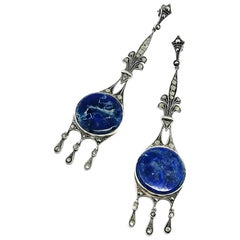 Very long sodalite, marcasite and sterling silver drop earrings, France, 1920s