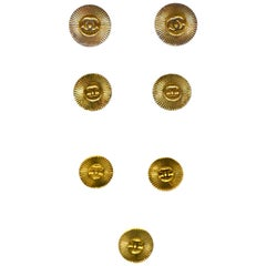 Chanel Goldtone CC Shank Buttons (Set of 7- 3 Small, 2 Medium, 2 Large)