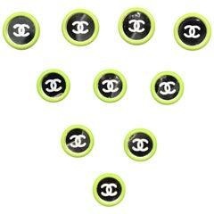 Chanel Mirror CC Shank Buttons W/ Green Trim (Set of 10- 4 Large, 6 Medium)