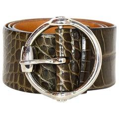 Ralph Lauren Brown Alligator Belt W/ Silver Buckle Sz M
