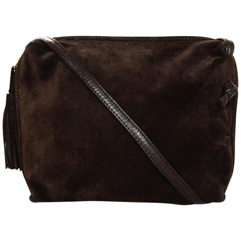 e7b5b8dc5f32 Bottega Veneta Vintage Brown Suede Crossbody Bag W  Tassel Pull For Sale
