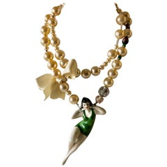 Vintage French Designer High Fashion Pearl Statement Necklace