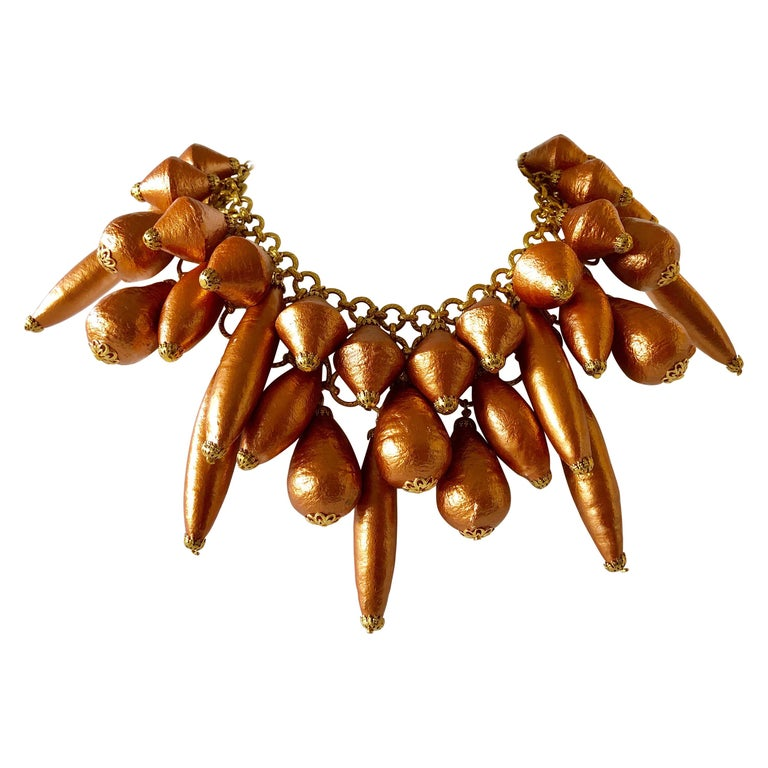 French Designer Architectural Bronze Pearl Statement Necklace  For Sale