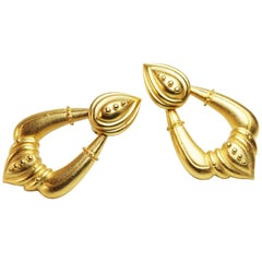 Etruscan Revival Doorknocker Clip On Earrings