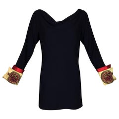 S/S 1990 Atelier Versace Runway by Gianni Navy Blue Embellished Tunic Mini Dress