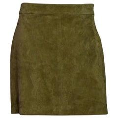 Polo Ralph Lauren Green Suede Mini Skirt Sz 8 NWT