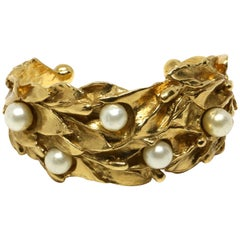 1980's YVES SAINT LAURENT organic leaf cuff with pearls