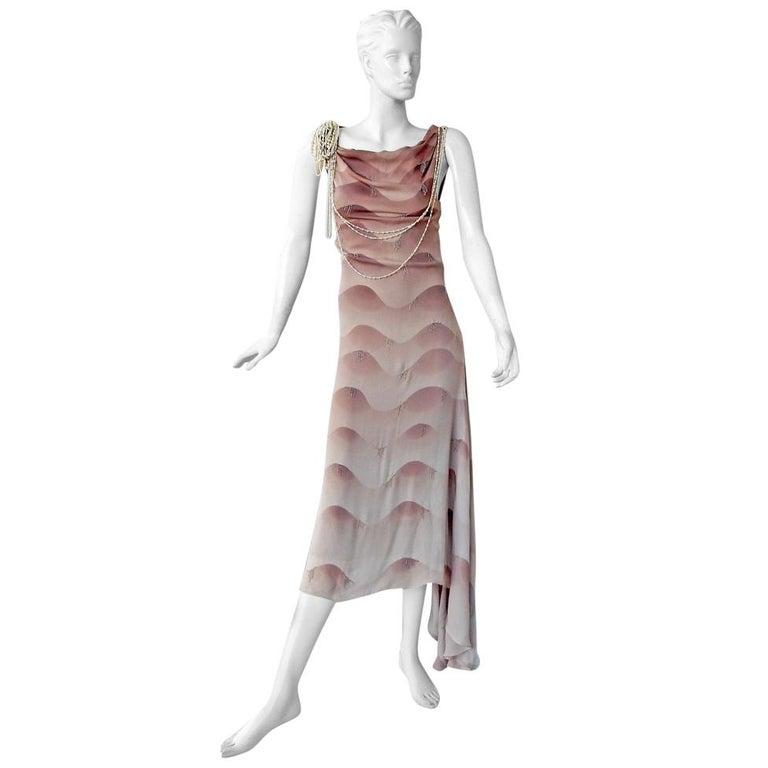 Chloe by Stella McCartney Vintage Runway Ombre Silk Dress w/ Pearl Necklace For Sale
