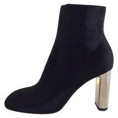 Celine Black Calf Hair Ankle Boot With Silver Metal Heel, 37.5