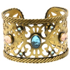 1970's YVES SAINT LAURENT pierced cuff with poured glass