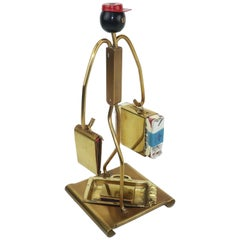 C.1940 Art Deco Brass Bellhop Porter Smoking Ashtray Set