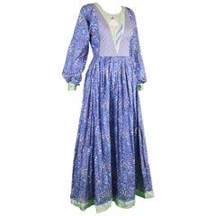 Vintage Floral Print Cotton & Green Silk Shantung Patchwork Maxi Dress, 1970s
