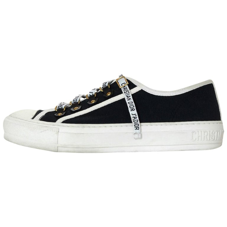 a55b204e Dior Black/White Canvas WALK'N'DIOR Low-Top Sneakers W/ Logo Laces Sz 38.5