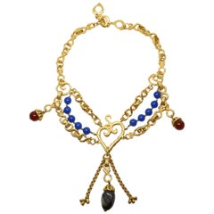 1990's YVES SAINT LAURENT layered gilt necklace with polished gemstones