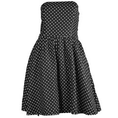 Valentino Vintage Black Polka Dot Linen Strapless Flared Skirt Dress, 1980s