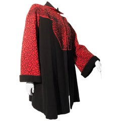 1940s Cordé-Embroidered Black & Red Stroller Coat W/ Deep Cuffs & Pointed Yoke