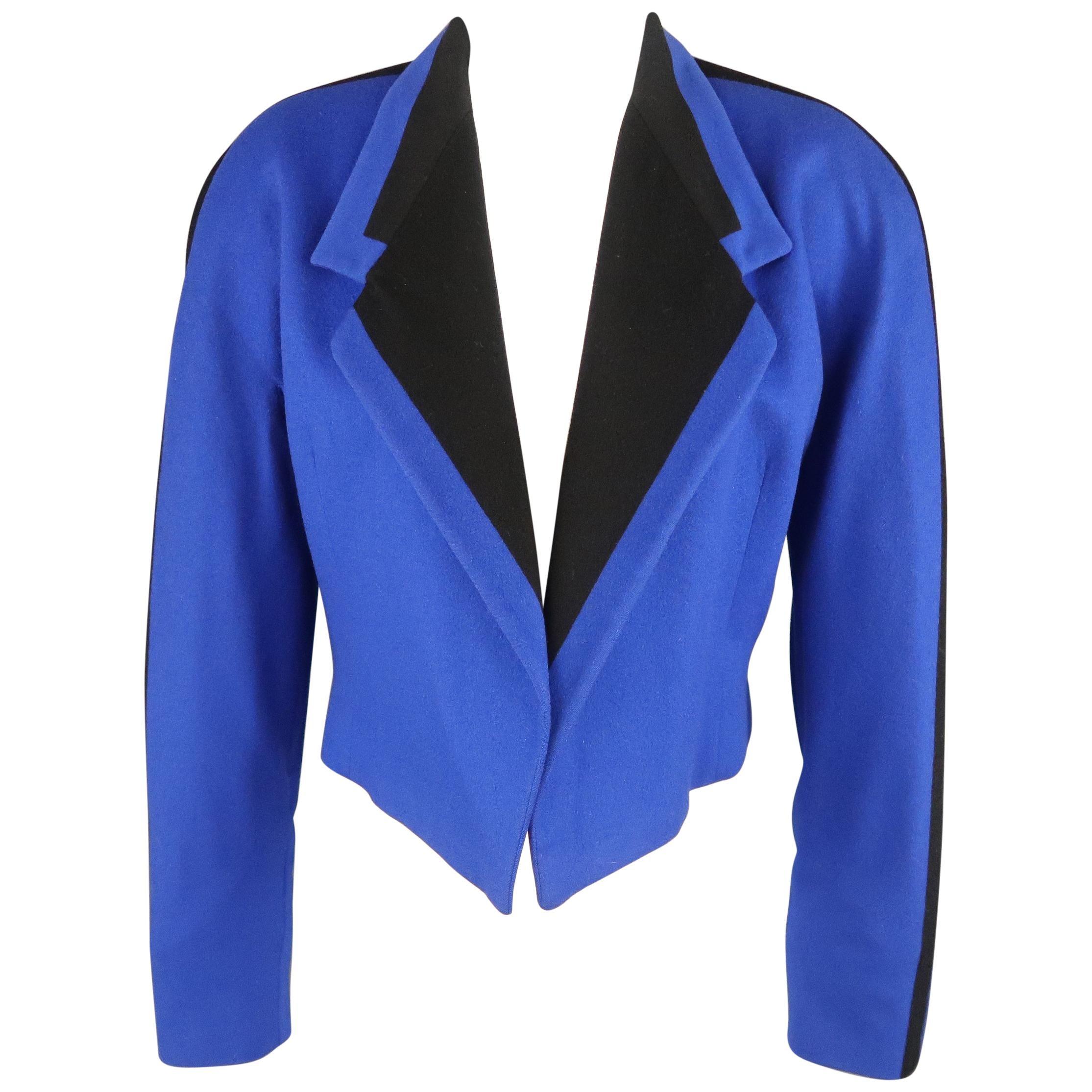 GIANNI VERSACE Size 8 Blue & Black Wool Cropped Blazer Jacket