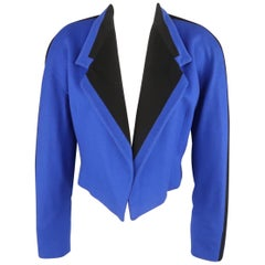 GIANNI VERSACE Size 8 Blue & Black Wool Cropped Blazer Jacket