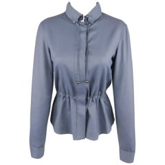 AKRIS Size 4 Blue Wool Drawstring Waist Hooded Jacket