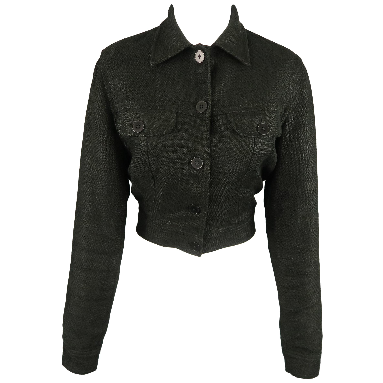 RALPH LAUREN Size 4 Black Woven Linen Cropped Trucker Jacket