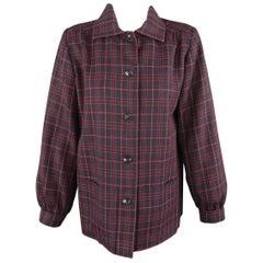 YVES SAINT LAURENT Rive Gauche Size 8 Navy & Red Windowpane Jacket