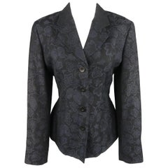 KENZO Size M Navy Floral Print Notch Lapel Blazer Jacket
