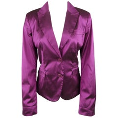 ETRO Size 10 Purple Silk Blend Textured Shantung Taffeta Blazer