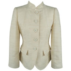 ARMANI COLLEZIONI Size 6 Cream Textured Cotton Blend Mandarin Collar Jacket