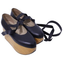 Vivienne Westwood Rocking Horse Shoes Black Leather Ballerina Platforms US6 UK5