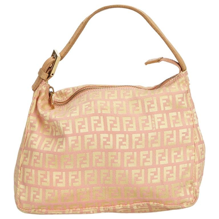 33ab834fff Fendi Pink Zucchino Canvas Handbag For Sale at 1stdibs