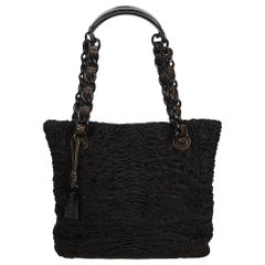 Chanel Black Fur Tote Bag