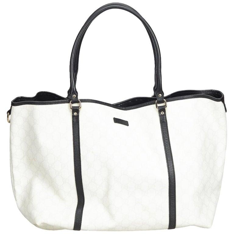 94ee58b98ed12 Gucci White GG Supreme Coated Canvas Tote Bag at 1stdibs