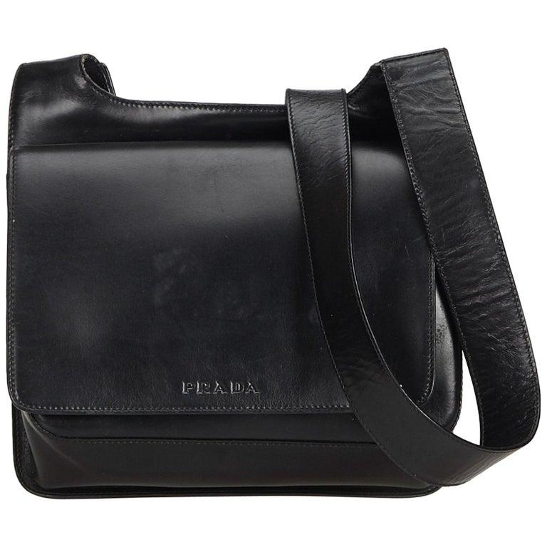 c86344d38f2f Prada Black Leather Crossbody Bag at 1stdibs