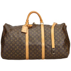Louis Vuitton Brown Monogram Keepall Bandouliere 60