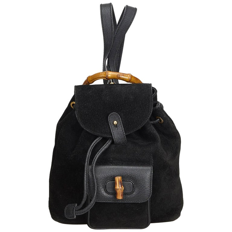 45fe2fc77223 Gucci Black Mini Bamboo Suede Leather Backpack For Sale at 1stdibs