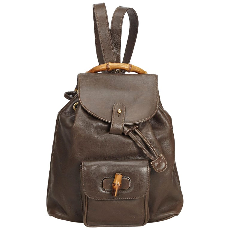 60ac20e2fe74 Gucci Brown Bamboo Leather Drawstring Backpack at 1stdibs