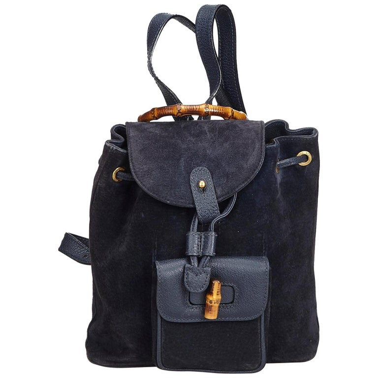6c52027160af Gucci Black Bamboo Suede Drawstring Backpack For Sale at 1stdibs