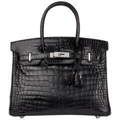 2010 Hèrmes Black Shiny Porosus Crocodile Leather Birkin 30cm