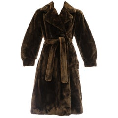 Yves Saint Laurent Haute Couture chestnut sheared beaver fur coat, ca. 1985