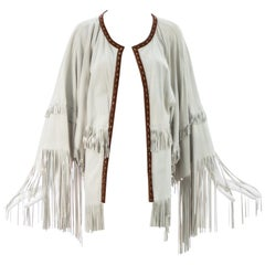 Dolce & Gabbana cream suede fringed poncho jacket, S/S 2004