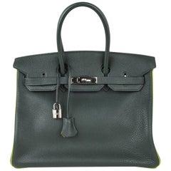 Hermes Birkin 35 Bag Vert Fonce / Vert Anis / Chartreuse, Ruthenium-Beschläge, Togo-Leder