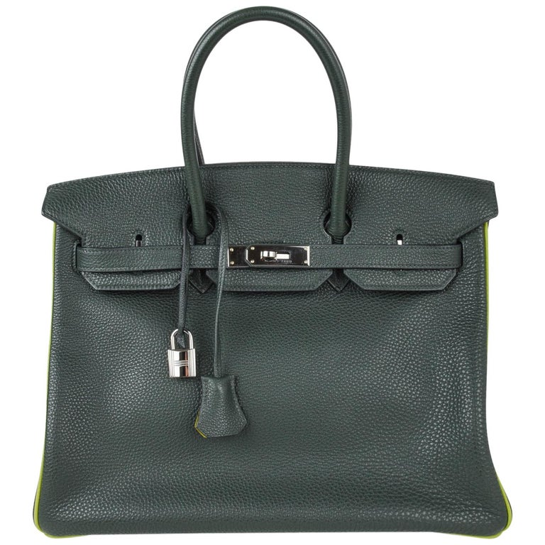 Hermes Birkin 35 Bag Vert Fonce / Vert Anis / Chartreuse Interior Ruthenium Togo 1