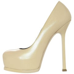 YSL Yves Saint Laurent Nude Glazed Textured Leather Tribute Two 105 Pumps Sz 36