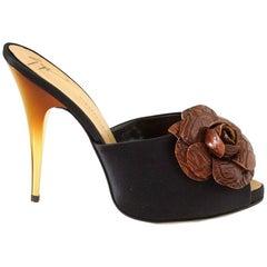 Giuseppe Zanotti Shoe Satin Mule Faux Croc Flower Ombre Gold Heel 38 / 8 New