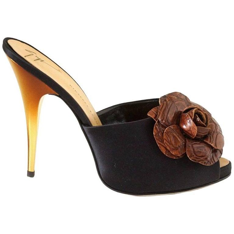 Giuseppe Zanotti Shoe Satin Mule Faux Croc Flower Ombre Gold Heel 38 / 8 New For Sale